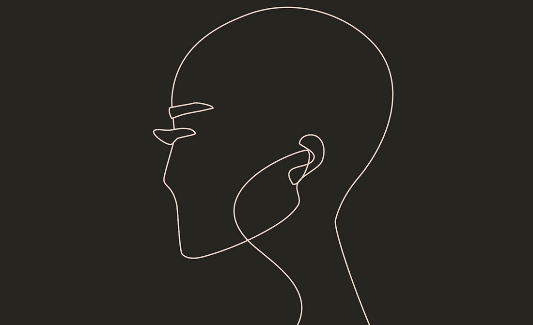 Off-white outline drawing of a head against an almost black background