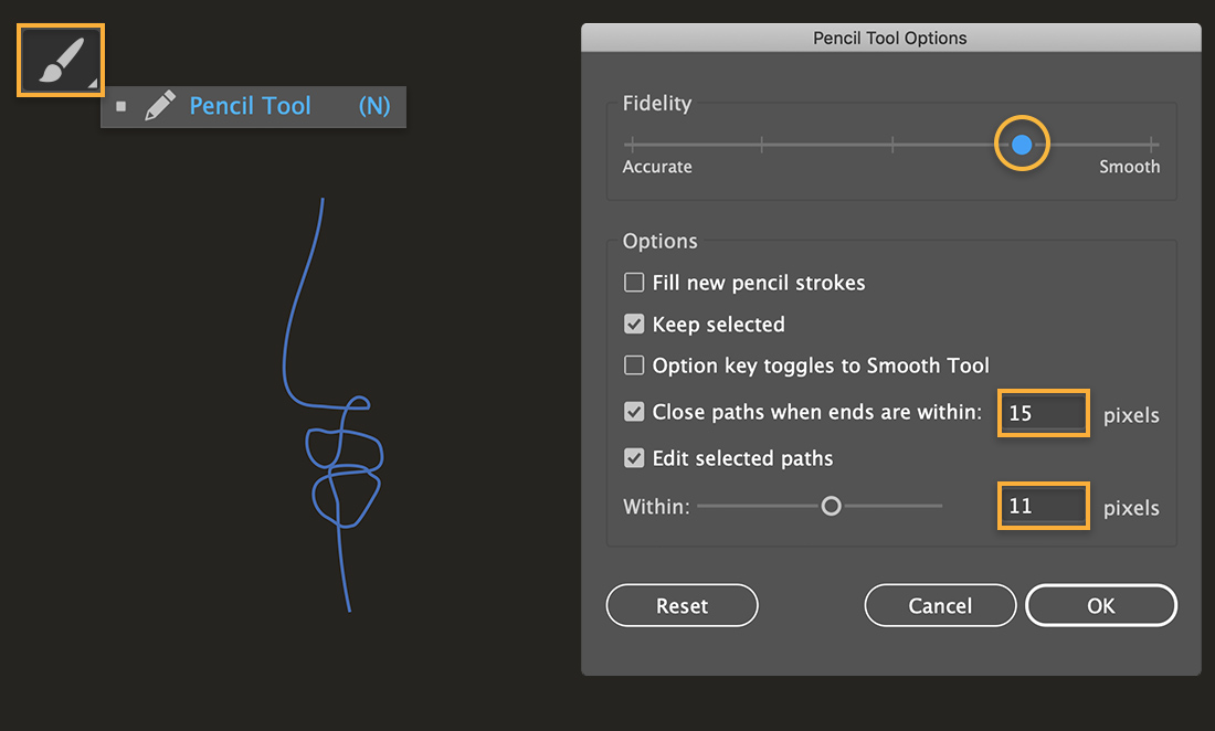 Pencil tool shows in upper left; shape of nose and mouth is on the canvas; Pencil tool options dialog on the right