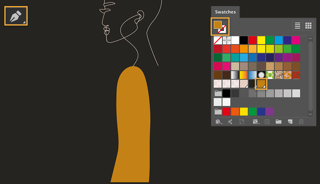 Pen tool is upper left, an ochre-colored sleeve has been drawn on the model, Swatches panel shows the color used