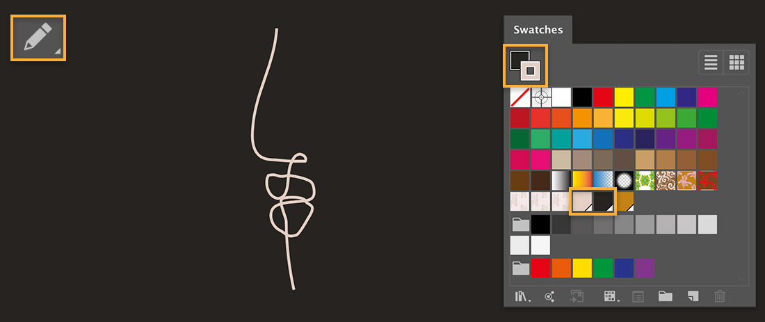 Pencil tool is upper left; outline of nose is off-white; Swatches panel shows fill set to black and stroke is off-white