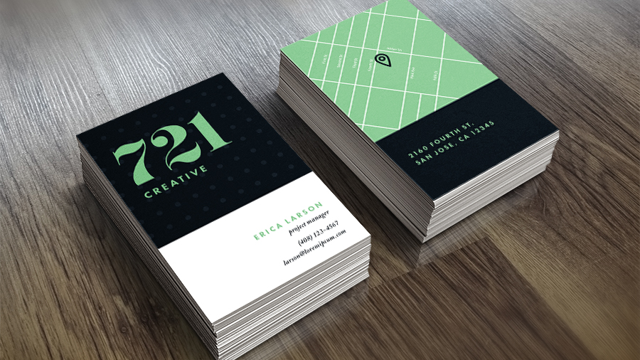 Image showing a stack of business cards for 721 Creative