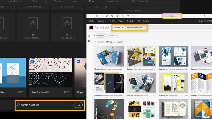 A selection of Illustrator template thumbnails appears on the Adobe Stock website