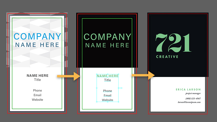 Three iterations of a business card design: Left: Unedited template, Center: In progress, Right: Final design