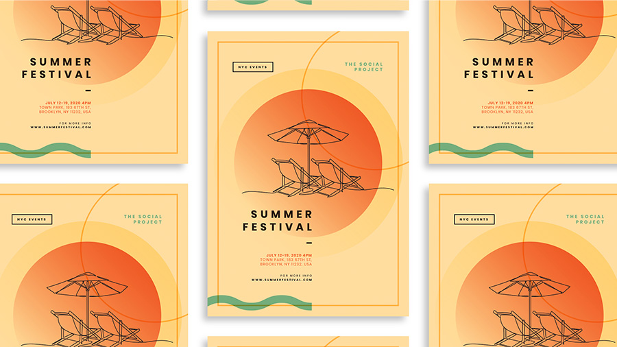 Multiple images of a poster design for a Summer Festival