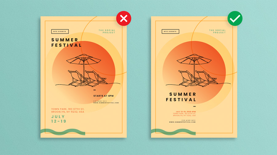 Two depictions of a Summer Festival poster, one has the event details together in a space that easy to read