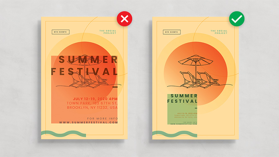 Image of two posters for a Summer Festival but one has the title over the design so is too visually busy