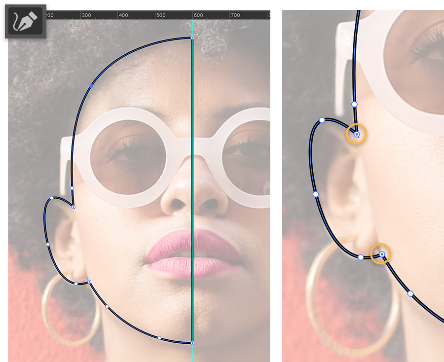 Closeup of model with low opacity shows border made by the Curvature tool in Adobe Illustrator on left half of her face.