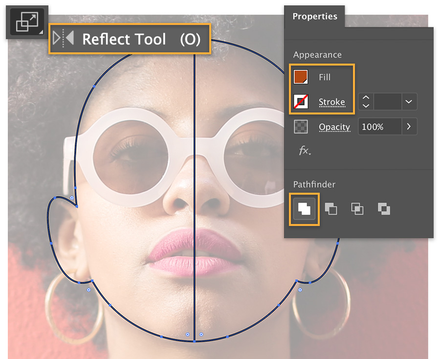 Reflect tool is highlighted, model has a border on both halves of her face, Unite option selected in the Pathfinder.