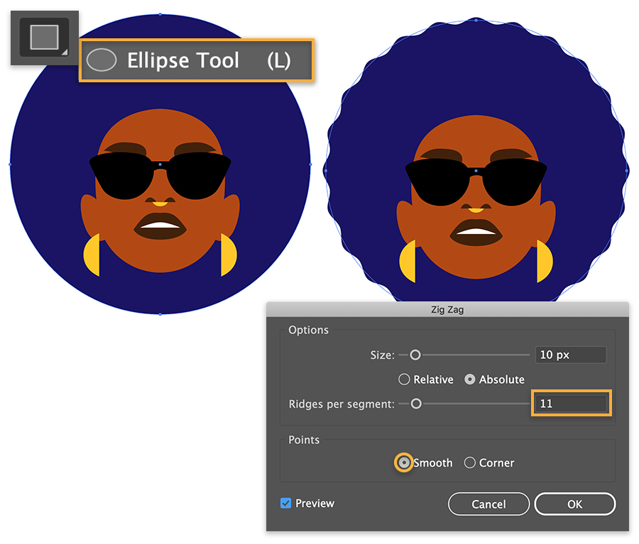 Digital drawing has dark blue circle behind portrait to represent hair, image on the right shows waves added to circle edges.