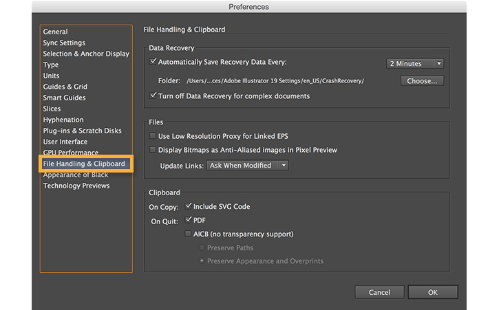Choose File Handling & Clipboard from the Preferences menu