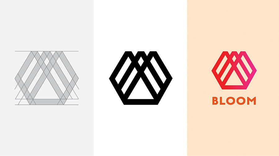Three versions of a logo for Bloom in progress from start to finish