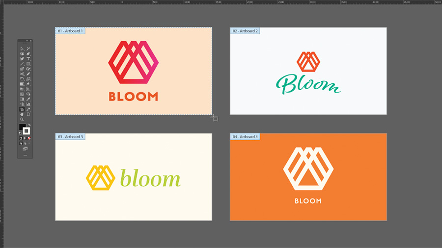 Four variations of a logo for Bloom shown on an Illustrator artboard