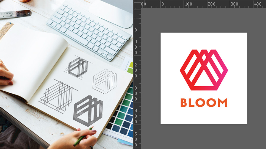 Sketches for a logo in a journal on the left and the final logo in Illustrator on the right