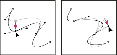 Dragging the anchor point (left), or dragging the direction point (right)