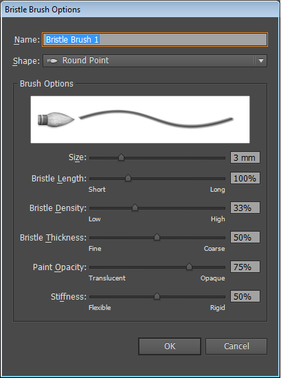 Bristle Brush Options dialog box