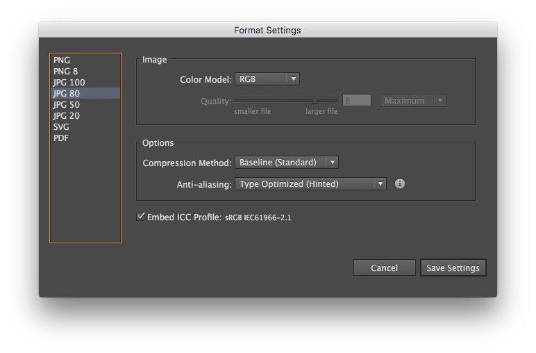 Provide format-specific settings in the Format Settings dialog.