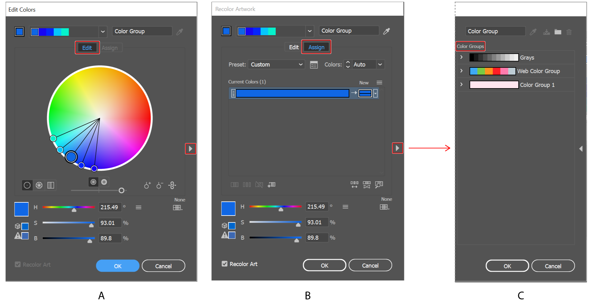 Create or edit color groups, and assign colors using the Edit Colors/Recolor Artwork dialog box.