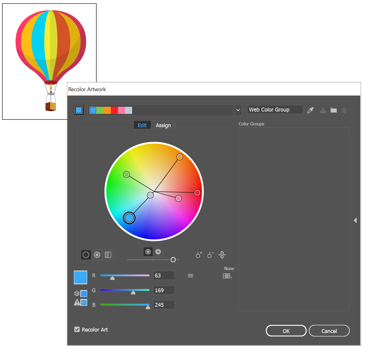 Work with color groups (harmonies) in Illustrator