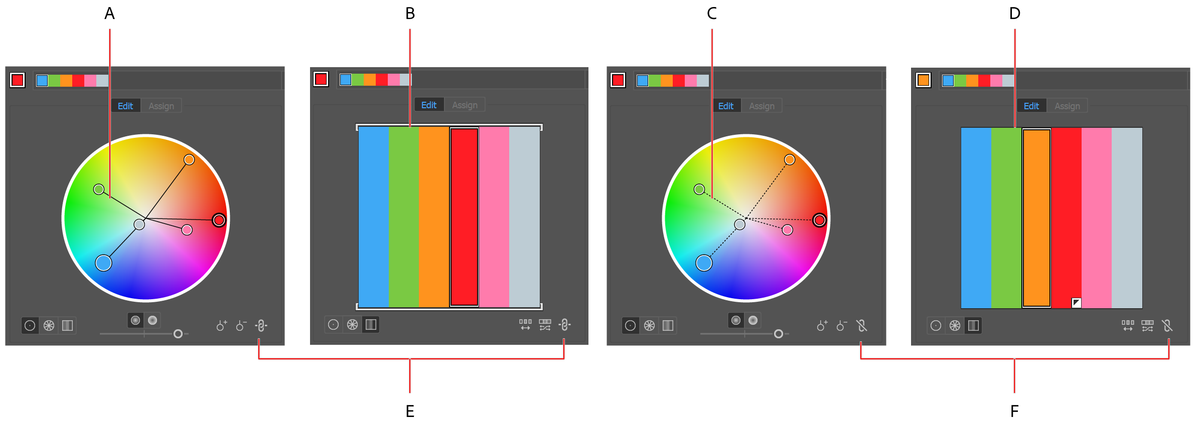 Color wheels and color bars