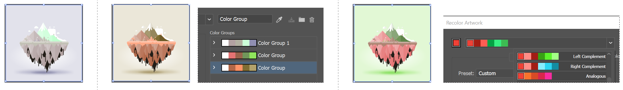 Original artwork colors (top), assigning new colors by selecting a color group in the Color Groups list (center), and assigning new colors by creating a new color group using the Harmony Rules menu (bottom)