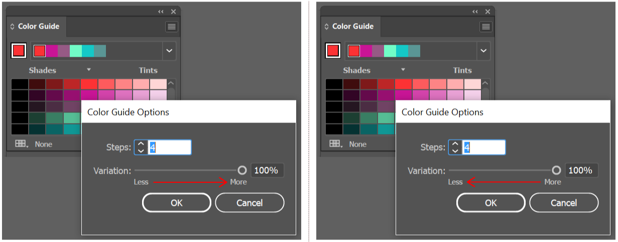 Adjusting the range of color variations