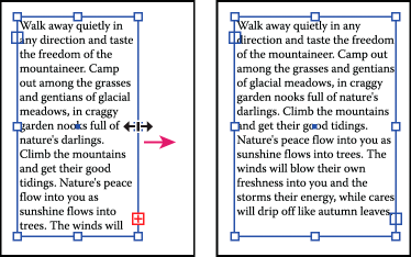 Resizing a text area with the Selection tool