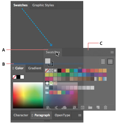 Narrow blue drop zone indicates Color panel will be docked on its own above the Layers panel group.