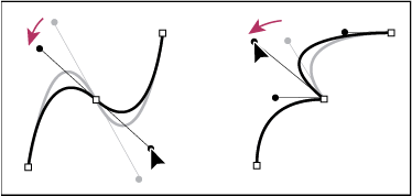 Adjusting direction lines on a smooth point (left) and a corner point (right)