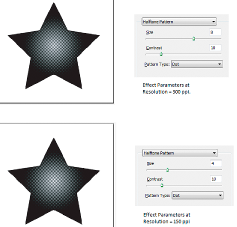 Halftone Pattern effect before and after the resolution value changes from 300 ppi to 150 ppi