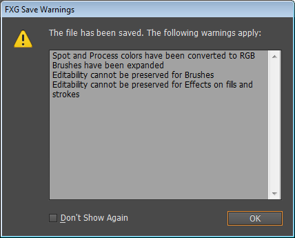 FXG Warning Dialog Box