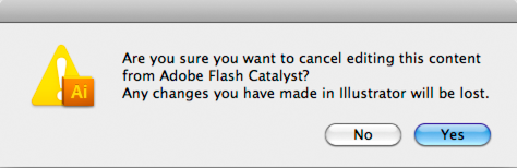 Dialog box to confirm cancellation of edit in Illustrator