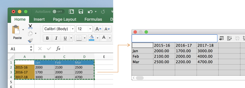 Copy data from a spreadsheet and paste it in the Graph Data window