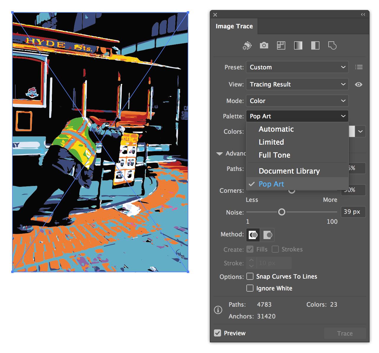 Image tracing presets