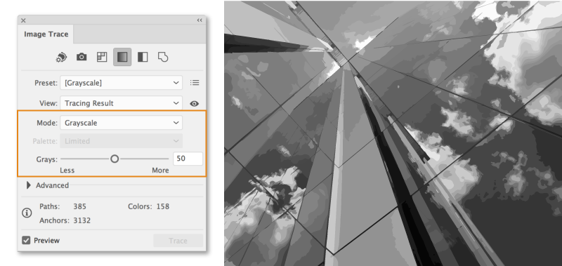 Adjust the number of grays in the tracing result when mode is set to grayscale