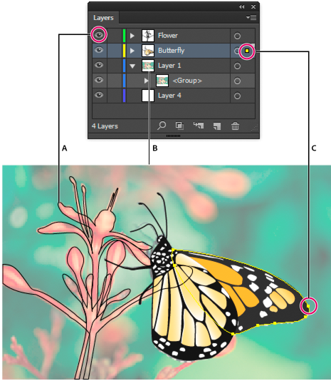 Display options for layered artwork