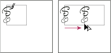 Drawing texture on the left side of the bounding box (left), and then copying texture and rectangle (right)