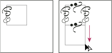 Drawing texture on the top side of the bounding box (left), and then copying texture and rectangle (right)