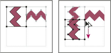 Rotating 90° and copying left tile (left), and then Alt‑dragging (Windows) or Option-dragging (Mac OS) a corner tile to make a copy beneath it (right)