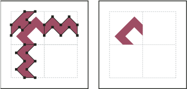 Deleting unnecessary elements (left) to produce a final outer corner tile (right)