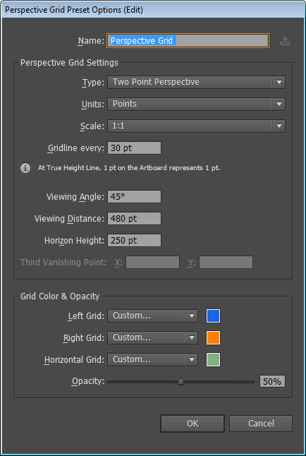 Perspective Grid Presets dialog box