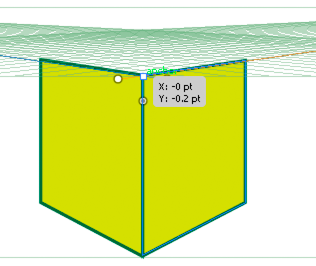 Horizontal grid plane adjusted to the height of the left face of the cube