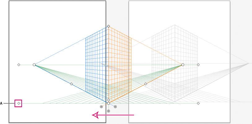 Moving the perspective grid across artboards using the left ground level widget