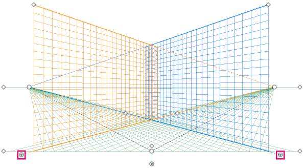 Adjusting the left and right grid planes in a two-point perspective