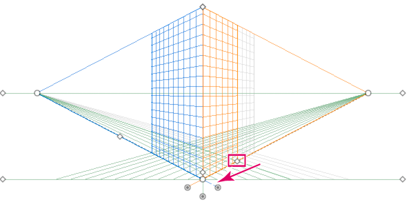 Moving the right grid extent away from the right vanishing point in a two-point perspective grid