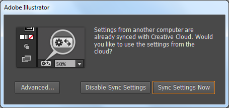 Sync Settings prompt at first launch. Previous Illustrator settings are available in Creative Cloud