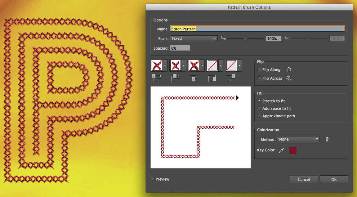 A stitch pattern has been used to outline artwork (left). The corners are automatically generated in the Pattern Brush Options dialog (right).