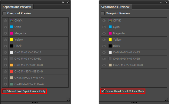 Separations Preview dialog displaying all spot colors available in the swatch (left), and only the colors used in the artwork (right)