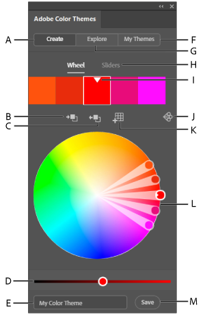 Панель тем Adobe Color