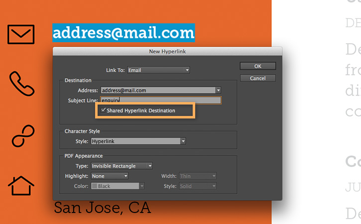 Store the email link in the Hyperlinks panel