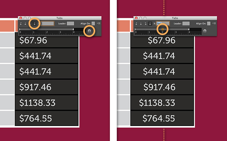 Align numbers to a decimal | Adobe InDesign tutorials